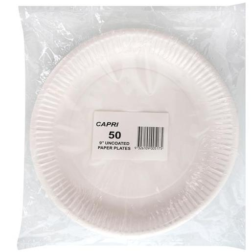"UNCOATED ROUND PAPER PLATES 9"" 50S"