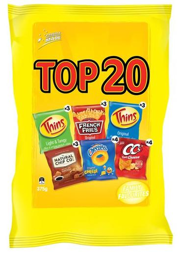 TOP 20 VARIETY POTATO CHIPS 375GM